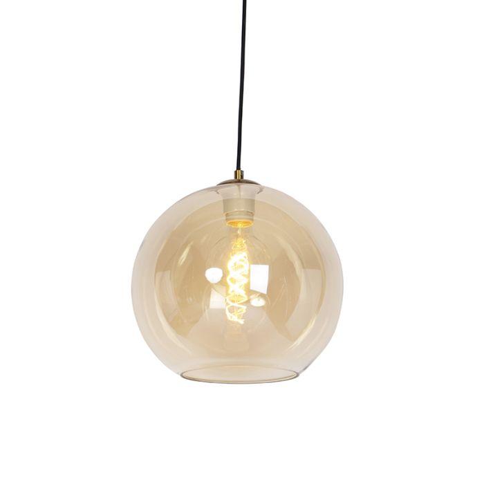 Art-deco-hanglamp-messing-met-amber-glas-30-cm---Pallot