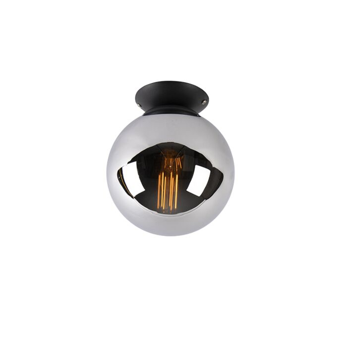 Art-deco-plafondlamp-zwart-met-smoke-glas---Pallon
