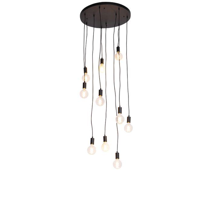 Moderne-hanglamp-zwart-60-cm-10-lichts---Facil