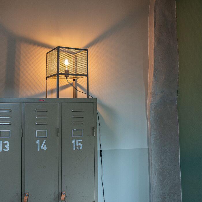 Industriële-tafellamp-antiek-zilver---Cage-Robusto