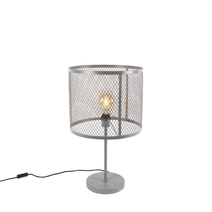 Industriële-ronde-tafellamp-antiek-zilver---Cage-Robusto
