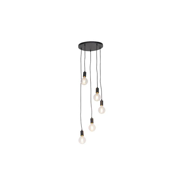 Moderne-hanglamp-zwart-35-cm-5-lichts---Facil