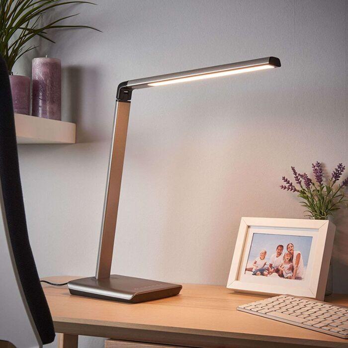 Bureaulamp-antraciet-met-USB-poort-incl.-LED-en-dimmer---Kuno