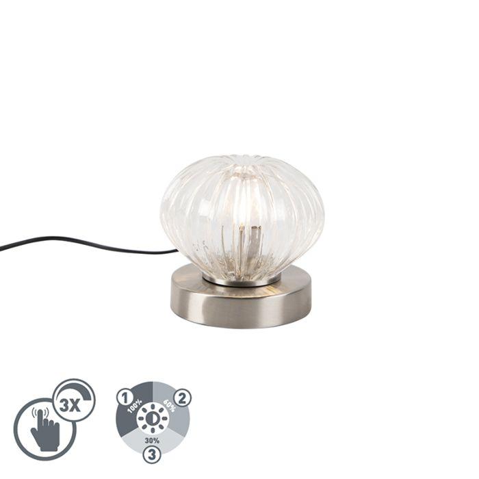 Tafellamp-staal-met-helder-glas-incl.-1-x-G9-en-dimmer---Bolseno