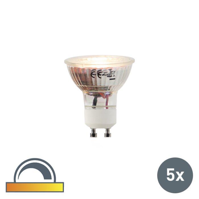 Set-van-5-LED-lampen-GU10-5W-2000-2700K-Dim-to-warm