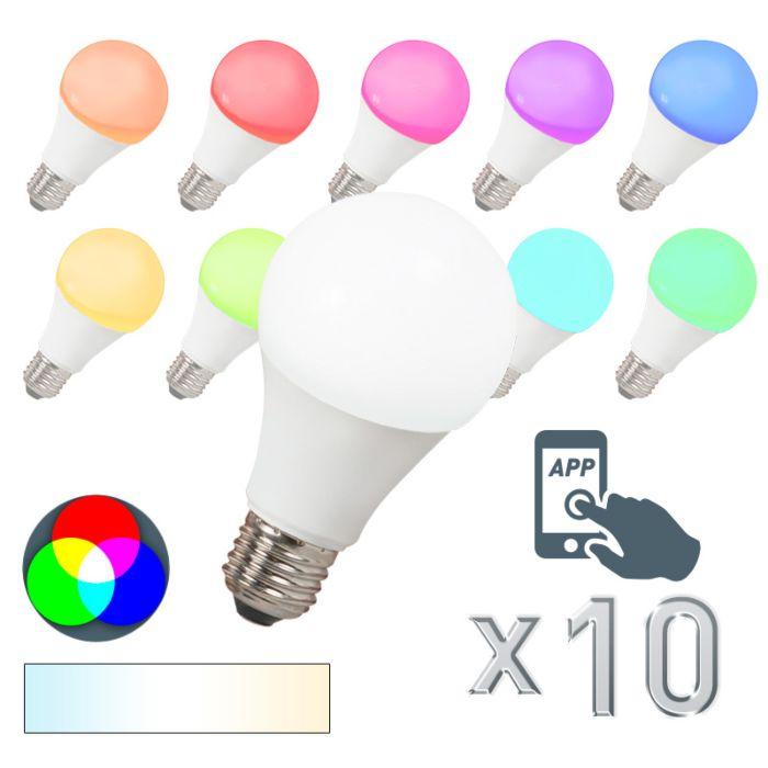 Set-van-10-LED-lamp-E27-240V-7W-500lm-A60-Smart-Light