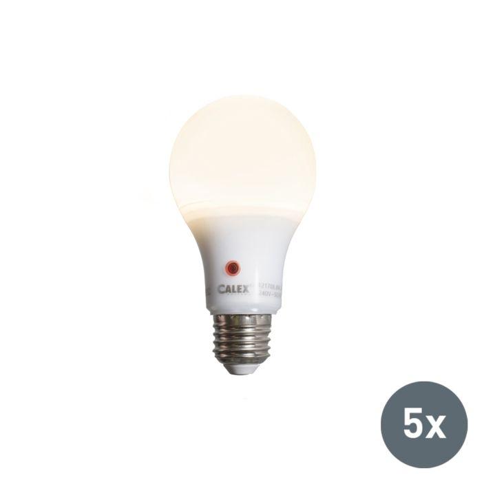 Set-van-5-LED-lamp-A65-E27-8W-710-lumen-met-sensor