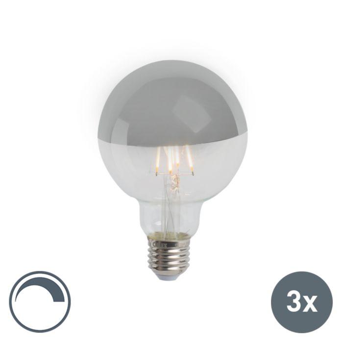 Set-van-3-E27-dimbare-LED-kopspiegel-G95-zilver-280lm-2300K