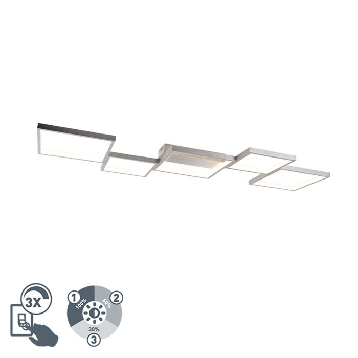 Plafonniere-aluminium-5-lichts-incl.-LED-3-staps-dimbaar---Lejo