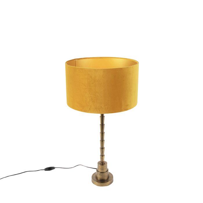 Art-deco-tafellamp-met-velours-kap-geel-35-cm---Pisos