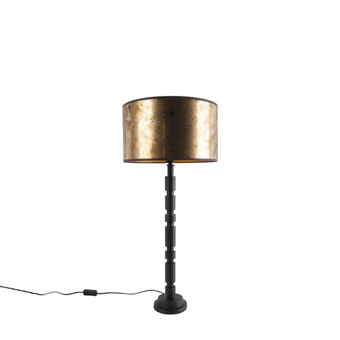 Art-deco-tafellamp-zwart-met-bronzen-kap-35-cm---Torre