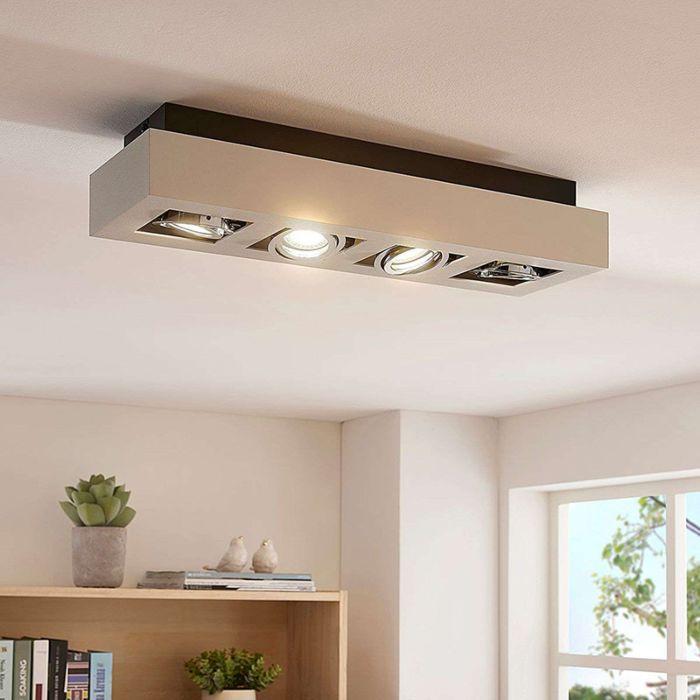 Moderne-plafondspot-wit-47-cm-incl.-GU10-4-lichts---Vince