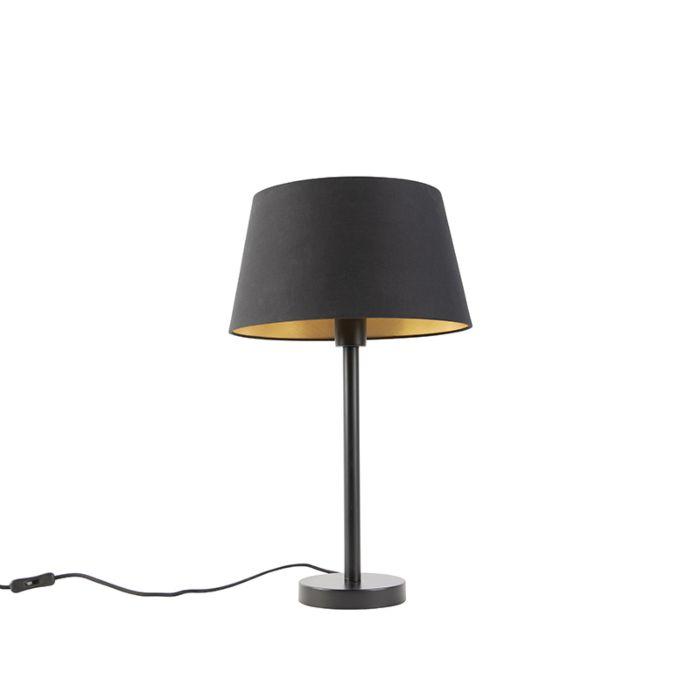 Klassieke-tafellamp-zwart-met-zwarte-kap-32-cm---Simplo