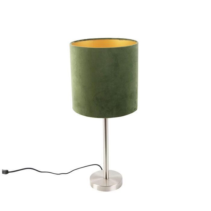 Moderne-tafellamp-staal-met-groene-kap-25-cm---Simplo