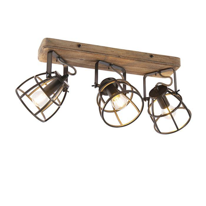 Industriële-spot-zwart-met-hout-verstelbaar-3-lichts---Arthur