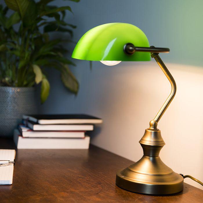 Klassieke-notarislamp---brons/groen