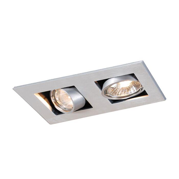 Rechthoekige-inbouwspot-2--lichts-aluminium---Qure