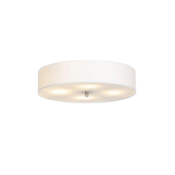 Landelijke-ronde-plafondlamp-wit-50cm---Drum