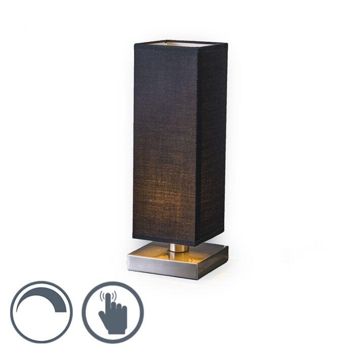 Tafellamp-Tower-Touch-staal-met-zwart