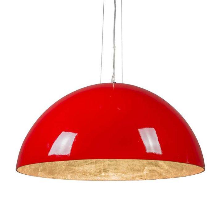 Hanglamp-Magna-Glossy-70cm-rood-met-zilver