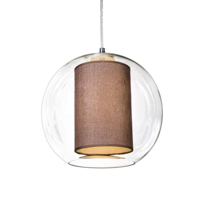 Hanglamp-Globe-30-met-kap-bruin