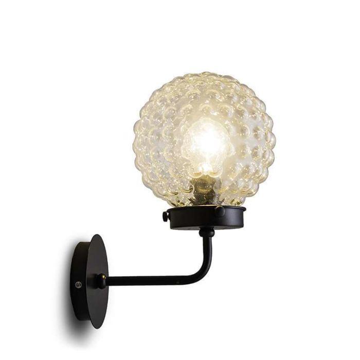 Wandlamp-Brufoli-zwart-met-helder-glas