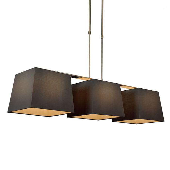 Hanglamp-Combi-Delux-3-kap-vierkant-30cm-zwart