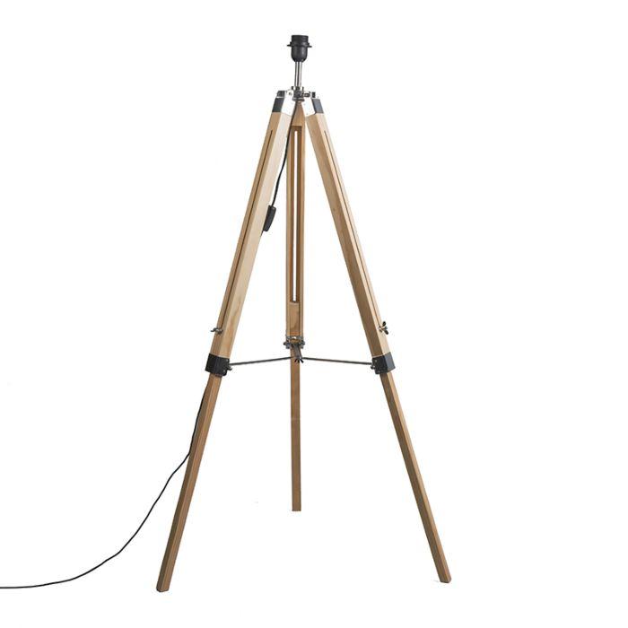 Landelijke-vloerlamp-hout-zonder-kap---Tripod