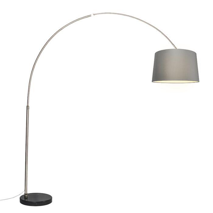 Booglamp-XXL-staal-kap-45cm-schuin-grijs