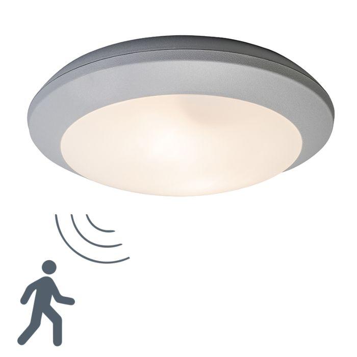 Moderne-ronde-buitenplafondlamp-grijs-met-glas-en-bewegingsmelder---Bertina