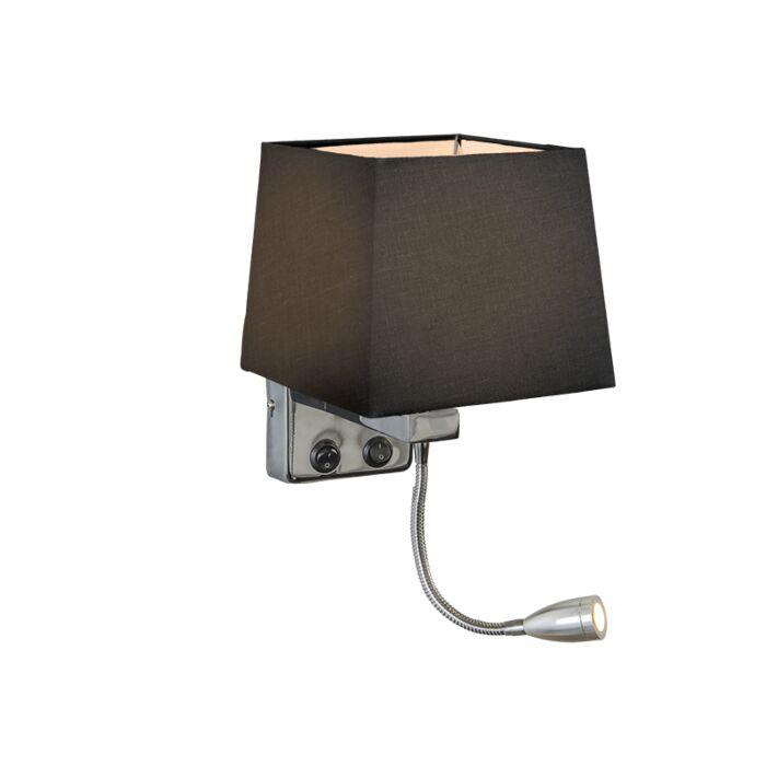 Wandlamp-Brescia-chroom-met-kap-vierkant-zwart