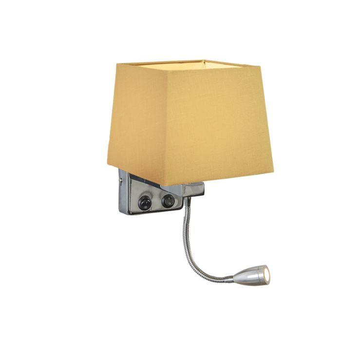 Wandlamp-Brescia-chroom-met-kap-vierkant-beige