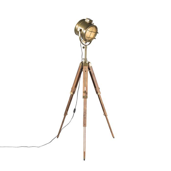 Vloerlamp-Tripod-Nautica-hout-met-goud