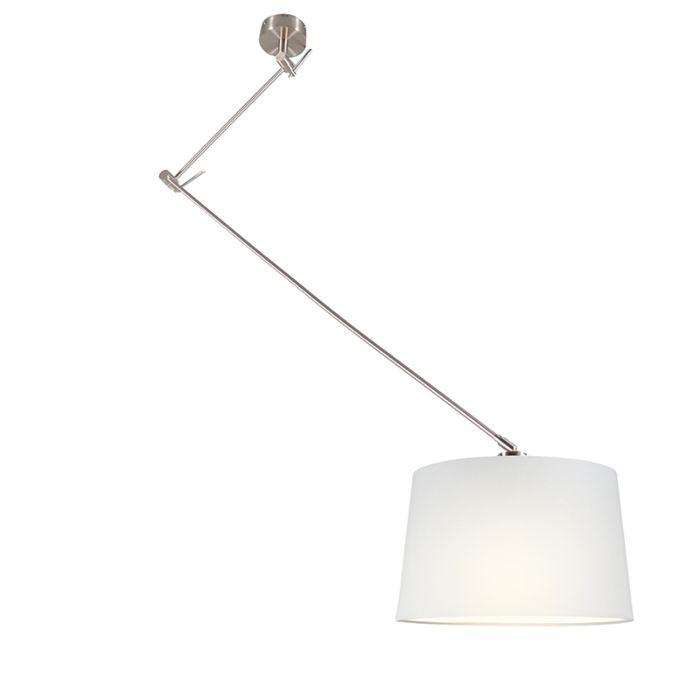 Hanglamp-Blitz-staal-met-kap-40cm-wit