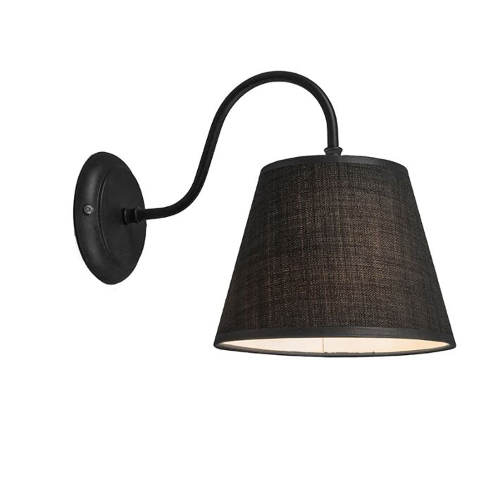 Wandlamp-Silea-Down-met-kap-zwart