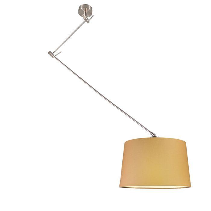 Hanglamp-Blitz-staal-met-kap-40cm-beige