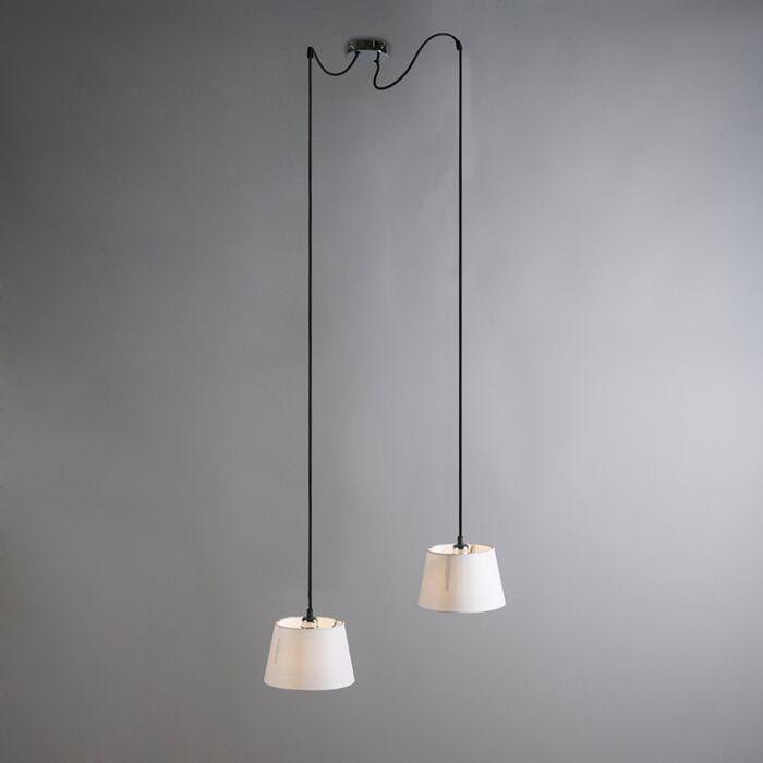 Hanglamp-Cava-2-chroom-met-witte-kappen