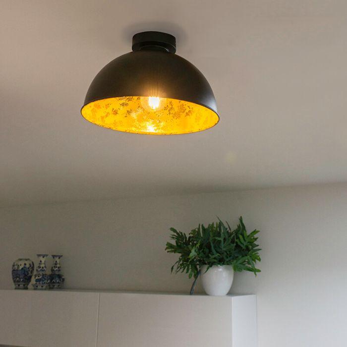 Industriële-plafondlamp-zwart-met-goud-30-cm---Magna-Basic