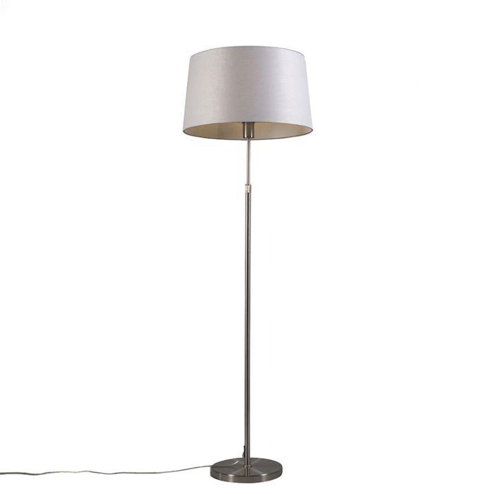 Vloerlamp-staal-met-kap-lichtgrijs-45-cm-verstelbaar---Parte
