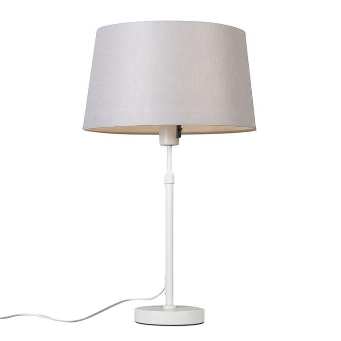 Tafellamp-wit-met-kap-lichtgrijs-35-cm-verstelbaar---Parte