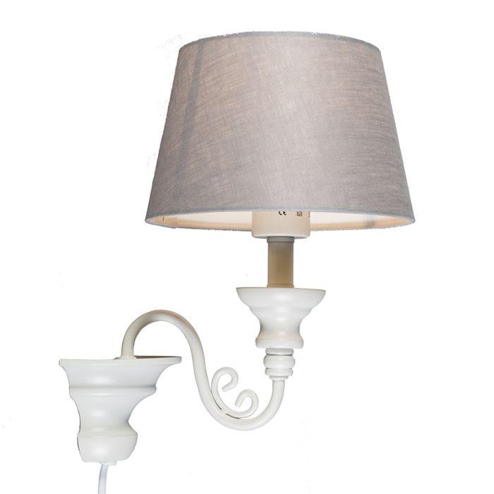 Wandlamp-Marilla-E27-wit-met-grijze-kap