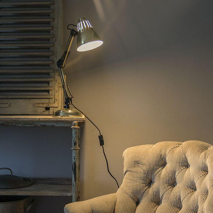 Retro-tafellamp-messing-verstelbaar---Buzz