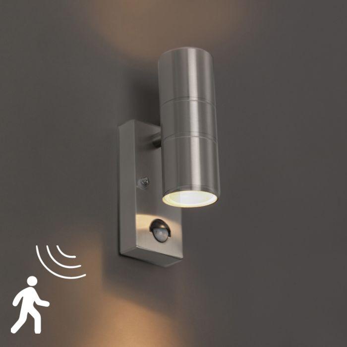 Buitenwandlamp-staal-IP44-met-bewegingssensor---Duo