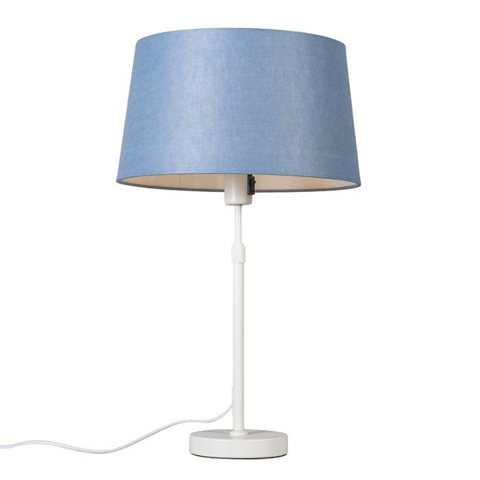 Tafellamp-wit-met-kap-blauw-35-cm-verstelbaar---Parte