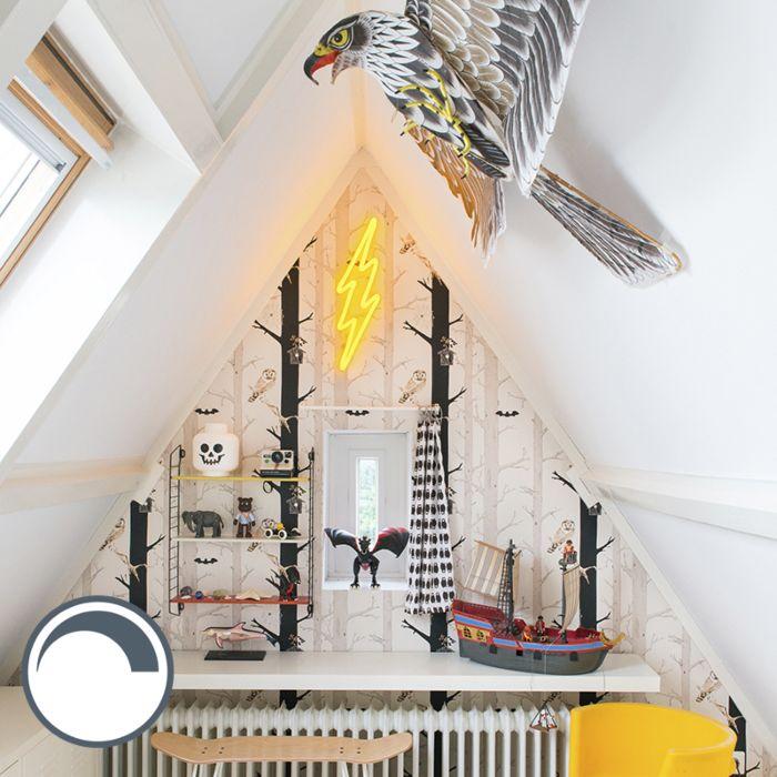 Wandlamp-Neon-bliksem-geel-dimbaar-met-remote