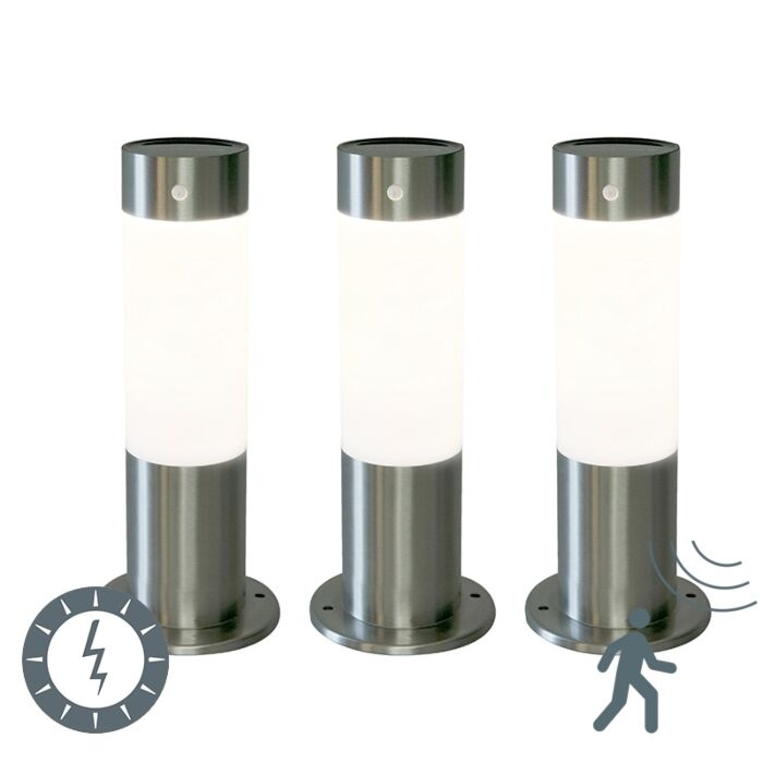 Set-van-3-buitenlampen-Rox-30-staal-op-zonne-energie