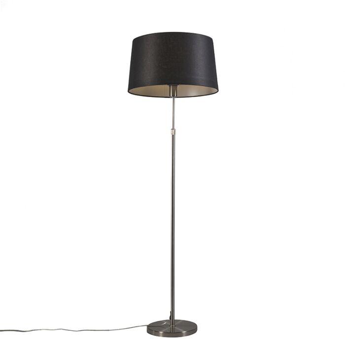 Vloerlamp-staal-met-kap-zwart-45-cm-verstelbaar---Parte