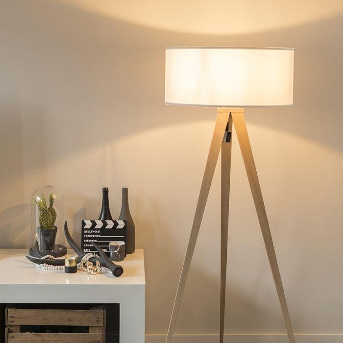 Moderne-vloerlamp-hout-met-witte-kap---Tripe