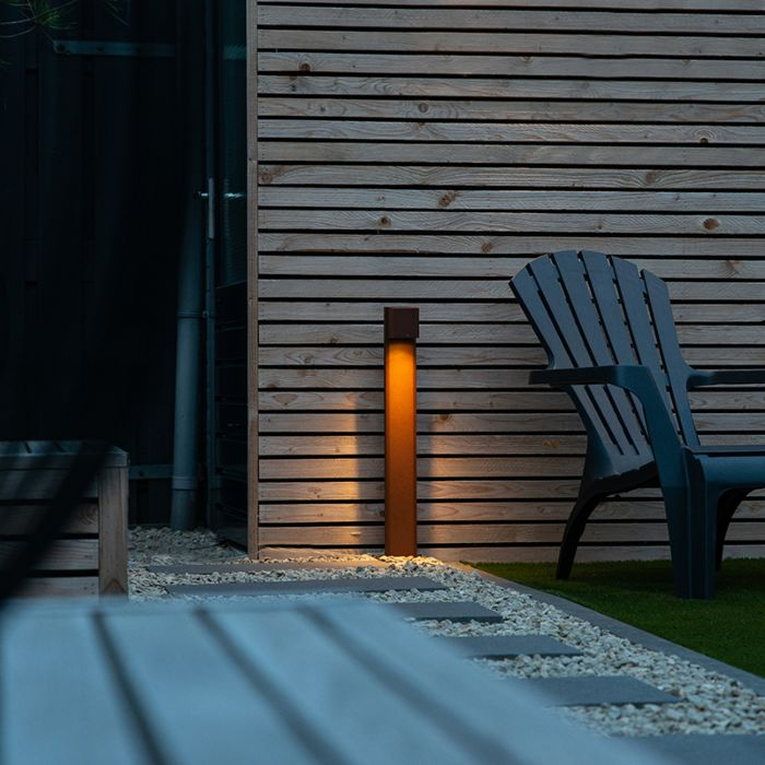 Industriële-staande-buitenlamp-roestbruin-65-cm-IP44---Baleno