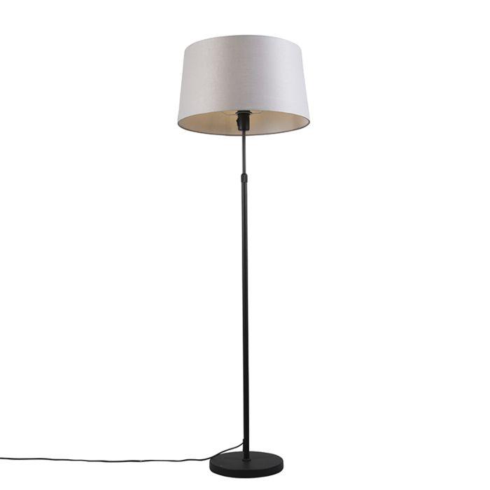 Vloerlamp-zwart-met-lichtgrijze-kap-45-cm-verstelbaar---Parte